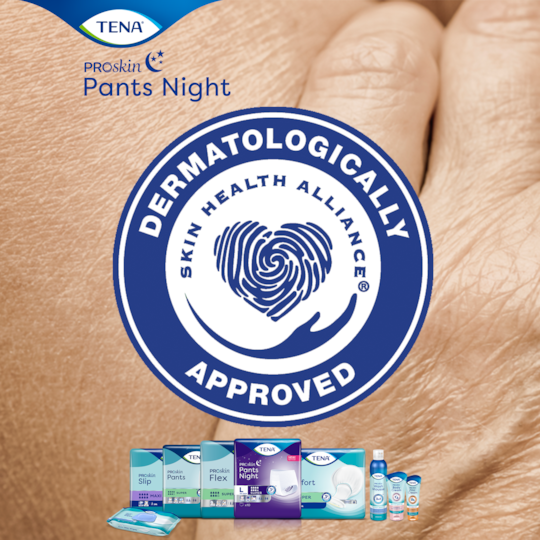 TENA Pants Night Super sind zertifiziert von Skin Health Alliance
