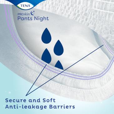 Sous-vêtements absorbants TENA Night avec barrières anti-fuites douces pour une sécurité renforcée