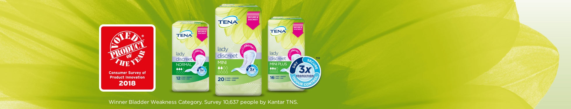 TENA Lady Discreet Normal Mini and Mini Plus Range Packs with illustration voted product of the year 2018 and three times protection