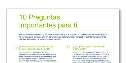 """Instantánea de la plantilla """"10 preguntas importantes"""" de TENA Cuidadores"""