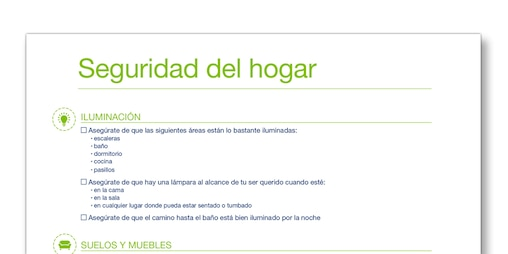 """Instantánea de la plantilla """"Seguridad en el hogar"""" de TENA Cuidadores"""