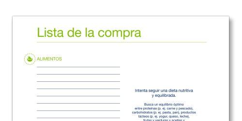 """Instantánea de la plantilla """"Lista de la compra"""" de TENA Cuidadores"""