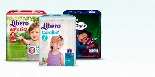 Valokuva, jossa kolme TENA Lapset -valikoiman inkontinenssituotetta.