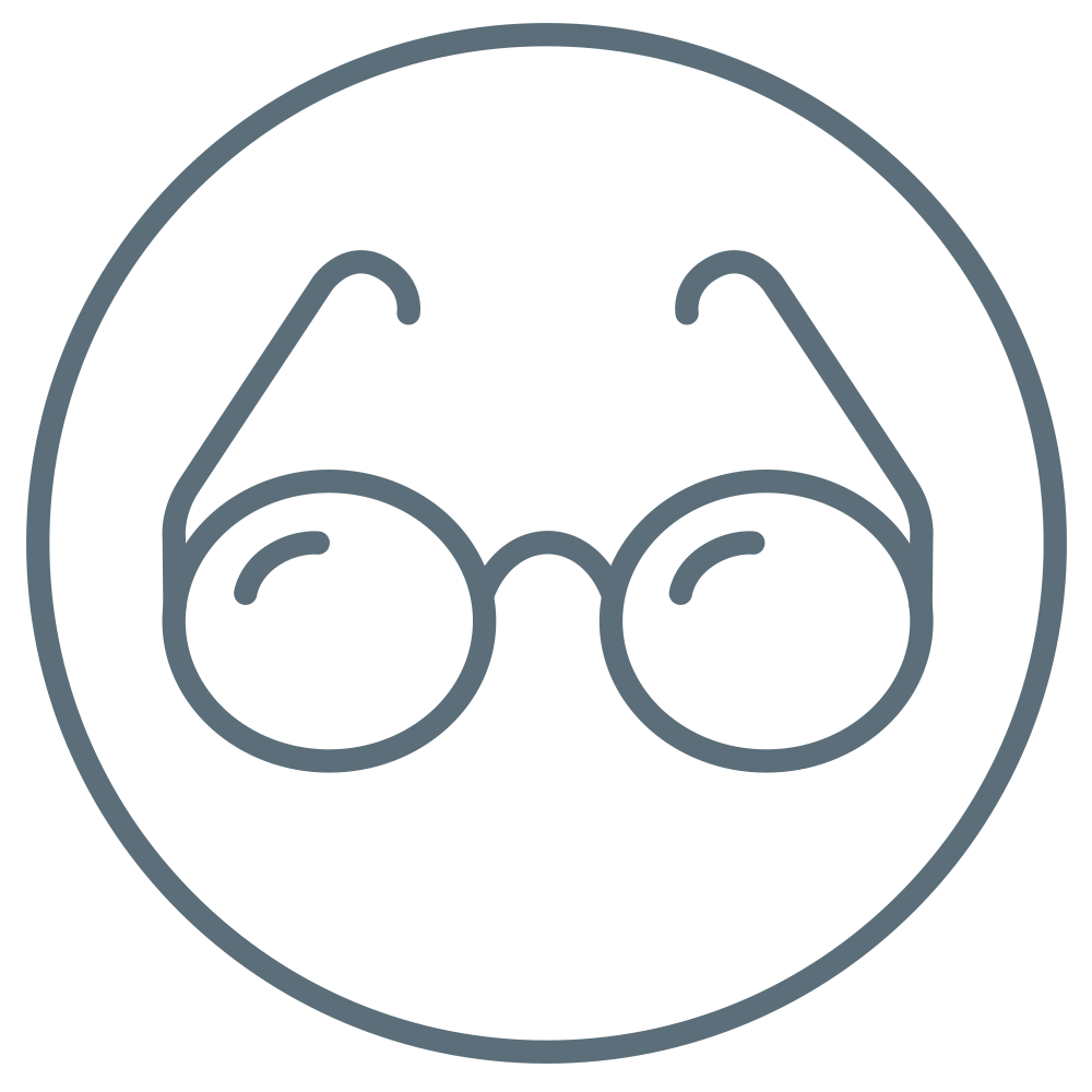 Glasses to demonstrate that this product is well-suited to glasses wearers.