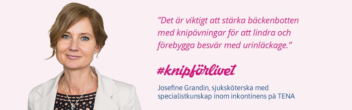 Josefine Grandin, sjuksköterska med specialistkunskap inom inkontinens på TENA