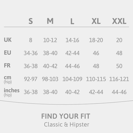 Size guide TENA Silhouette washable incontinence underwear