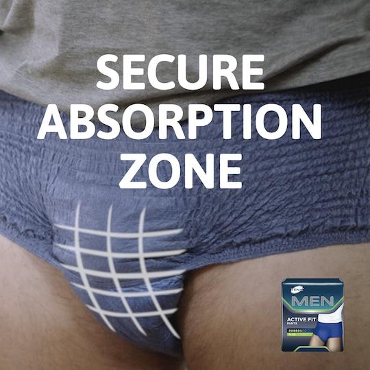 TENA Men Active Fit hält Sie dank der sicheren Absorptionszone trocken.