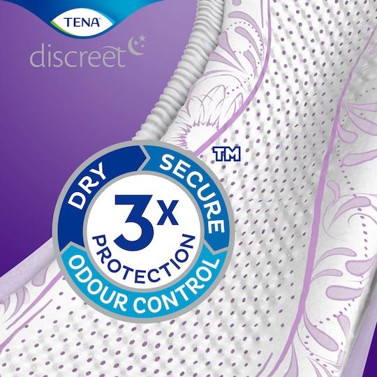 TENA Discreet biedt drievoudige bescherming tegen doorlekken, geurtjes en een vochtig gevoel