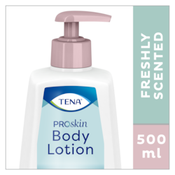 TENA ProSkin Body Lotion is en fris geurende bodylotion in een handige pompflacon van 500 ml