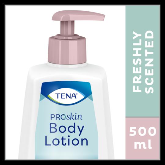 TENA ProSkin Body Lotion är en kroppslotion med fräsch doft i en praktisk 500ml pumpflaska