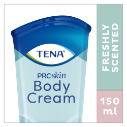TENA ProSkin Body Cream is een hydraterende bodycrème met een frisse geur in een tube van 150 ml