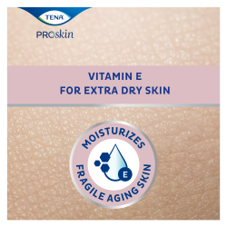 A TENA ProSkin bőrápoló krém hidratálja az idősek sérülékeny bőrét, extra E-vitamin-tartalma pedig gondoskodik a különösen száraz bőr táplálásáról.