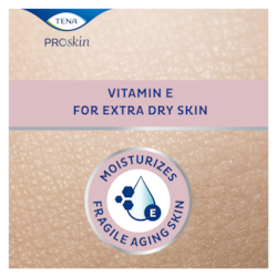 Telový krém TENA na extra suchú pokožku svitamínom Ehydratuje krehkú pokožku seniorov.
