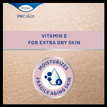 Krema TENA ProSkin Body Cream vlaži občutljivo zrelo kožo, vsebuje vitaminom E za posebej suho kožo