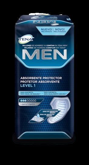 TENA Men protector absorbente level 1: protectores absorbentes masculinos seguros para la incontinencia y pérdidas de orina leves