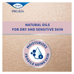 TENA ProSkin Body Oil hydrateert de kwetsbare,oudere huid met natuurlijke oliën voor een droge en gevoelige huid