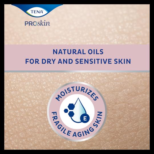 TENA ProSkin Body Oil Ihoöljy kosteuttaa herkkää, ikääntyvää ihoa luonnollisilla öljyillä