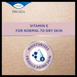TENA ProSkin Loción corporal hidrata la piel frágil de las personas mayores ya que contiene vitamina E para pieles muy secas