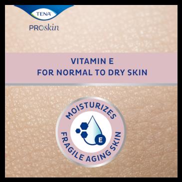 TENA tělové mléko hydratuje křehkou starší pokožku a obsahuje vitamín E pro extrémně suchou pokožku