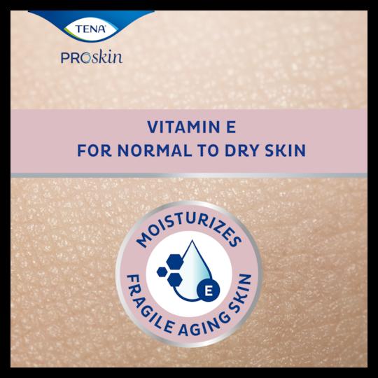TENA ProSkin Body Lotion hydrateert de kwetsbare oudere huid met vitamine E voor een extra droge huid