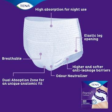 TENA Pants Plus Night cu tehnologie avansată pentru confort, senzație de piele uscată și protecție împotriva scurgerilor nedorite