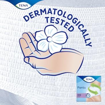Le mutandine assorbenti TENA Pants Maxi sono dermatologicamente testate per non irritare la pelle