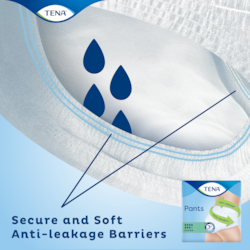 TENA Pants Super Incontinence pants with secure and soft anti-leakage barriers around the leg opening