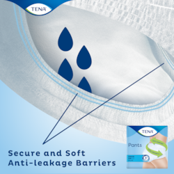 TENA Pants Plus Incontinence pants with secure and soft anti-leakage barriers around the leg opening