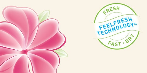 lights by TENA, FeelFreshTM-teknologian logo.