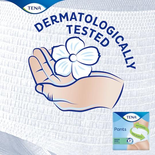 As TENA Pants Super são dermatologicamente testadas para manter a suavidade da pele