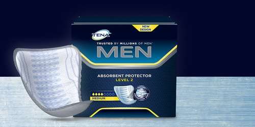 Package and product TENA Men Absorbent Protectors on display