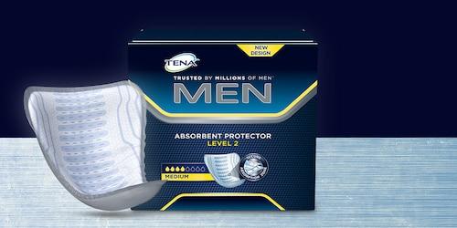Paket ve ürün vitrinde TENA Men Emici Koruma