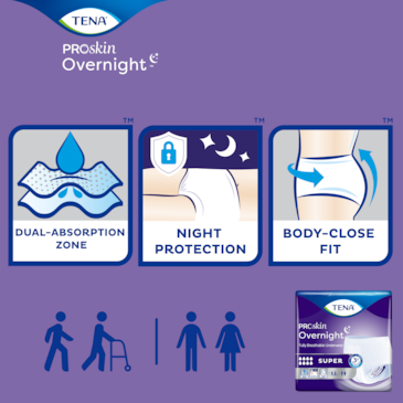 Unisex, easy to use TENA ProSkin Overnight incontinence underwear keeps you drier for longer for total night security