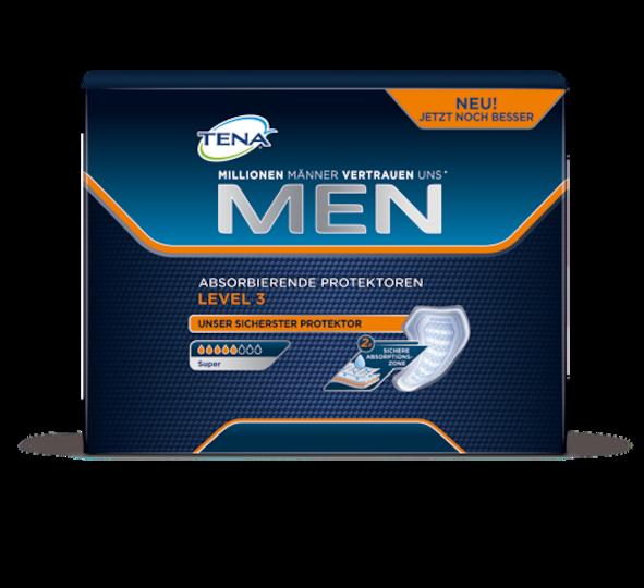 TENA MEN Level 3 – Extraschutz vor größerem unfreiwilligen Harnverlust und Inkontinenz bei Männern, geeignet für Tag und Nacht