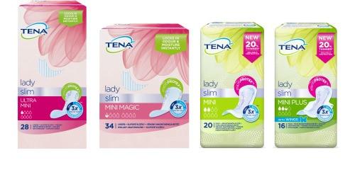 Záber balenia čtyroch produktov TENA Lady Slim