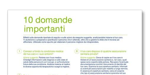 """Immagine del modello """"10 domande importanti"""" creato da TENA per i familiari assistenti"""