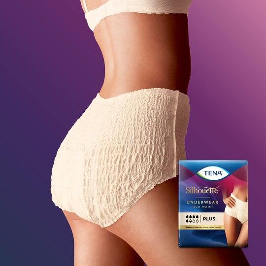 TENA Silhouette Plus High Waist Crème | Housunmallinen inkontinenssisuoja