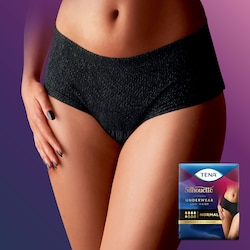 A woman wearing a  TENA Silhouette Black low waist normal