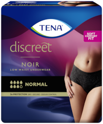 TENA Discreet Normal Low Waist Noir - women´s incontinence underwear in fashionable black