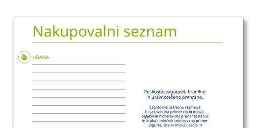 Posnetek predloge nakupovalnega seznama TENA Nega najbližjih