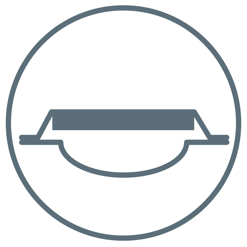 A dressing with an arching wound pad to indicate that it will not stick to the wound.