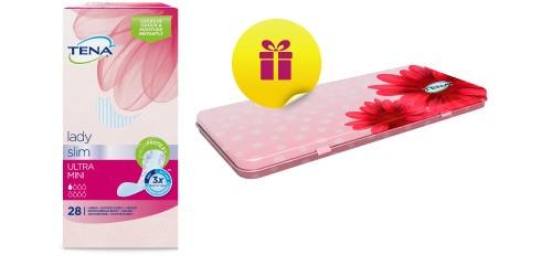 Vložky TENA Lady Slim – snímek balení a cestovní krabičky