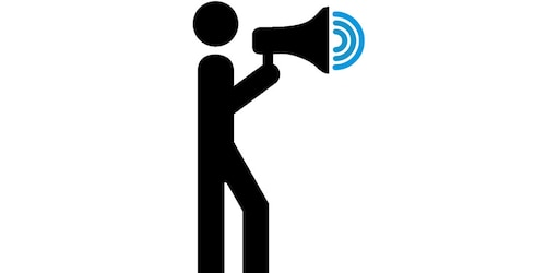 Prostate Cancer UK Man icon with microphone