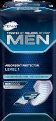 """""""TENA MEN Level 1"""" – saugiai priglundantys apsauginiai įklotai vyrams, skirti naudoti esant lengvam šlapimo nelaikymui"""
