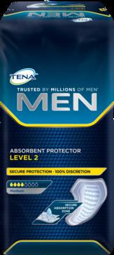 TENA MEN Absorbent Protector Level 2 – maskulin, sikker lille ble eller indlæg til beskyttelse ved medium ufrivillig vandladning eller urininkontinens