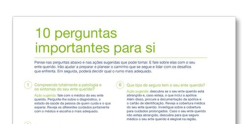 """Imagem do modelo TENA Family Cuidadores """"As 10 perguntas mais importantes"""""""