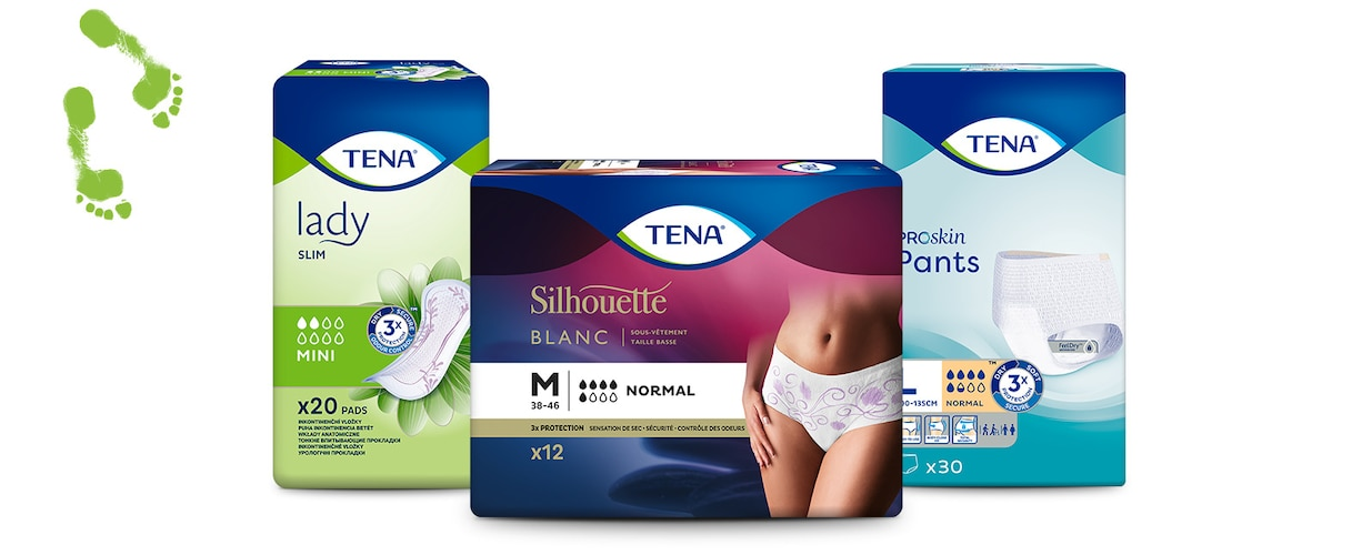 Пакети TENA Lady Slim Mini, TENA Silhouette Normal и TENA Proskin Pants Normal