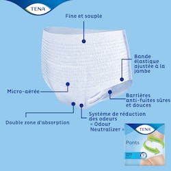 TENA Pants Plus avec une technologie avancée qui garde au sec et assure confort et sécurité anti-fuites