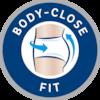 Körpernahe Passform, die sich an die Körperkonturen anpasst