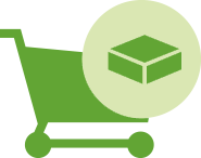 Illustrated icon of a TENA webshop shopping cart